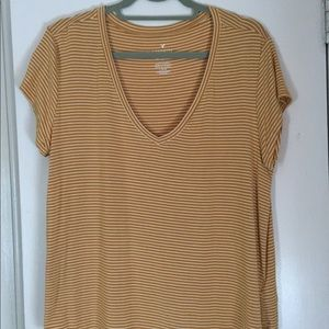Short sleeve mustard and white stripe top
